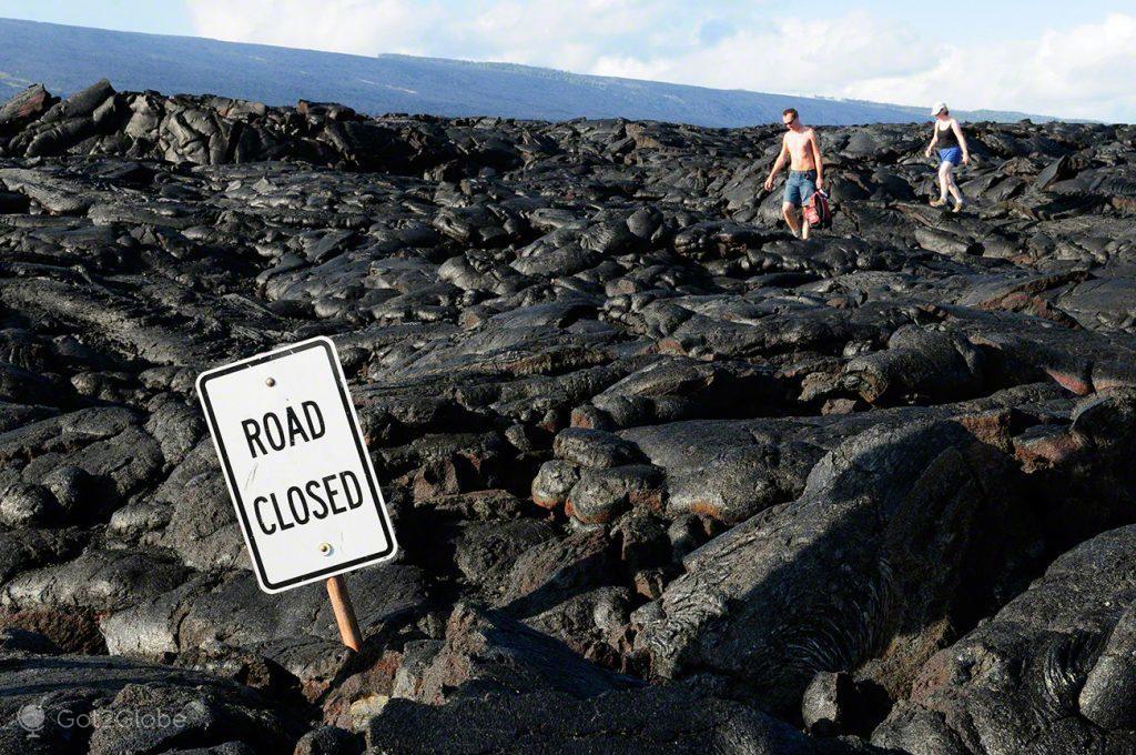 Sem Saída, Grande Ilha Havai, Parque Nacional Vulcoes, rios de Lava