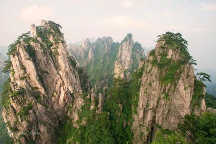 Picos florestados, Huang Shan, China, Anhui, Montanha Amarela dos Picos Flutuantes