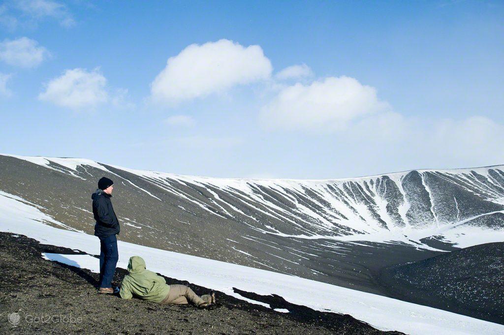 cratera Hverjall, Islândia Neve Sem Fim Ilha Fogo