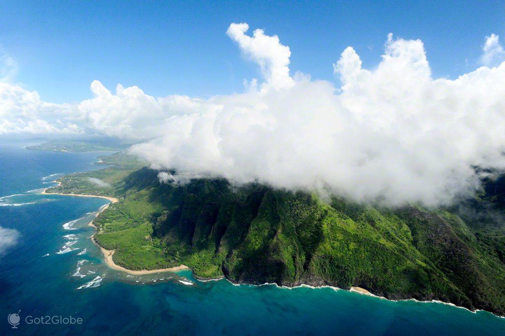 Aérea de Napali Coast e Waimea Canyon, Kauai, Rugas do Havai