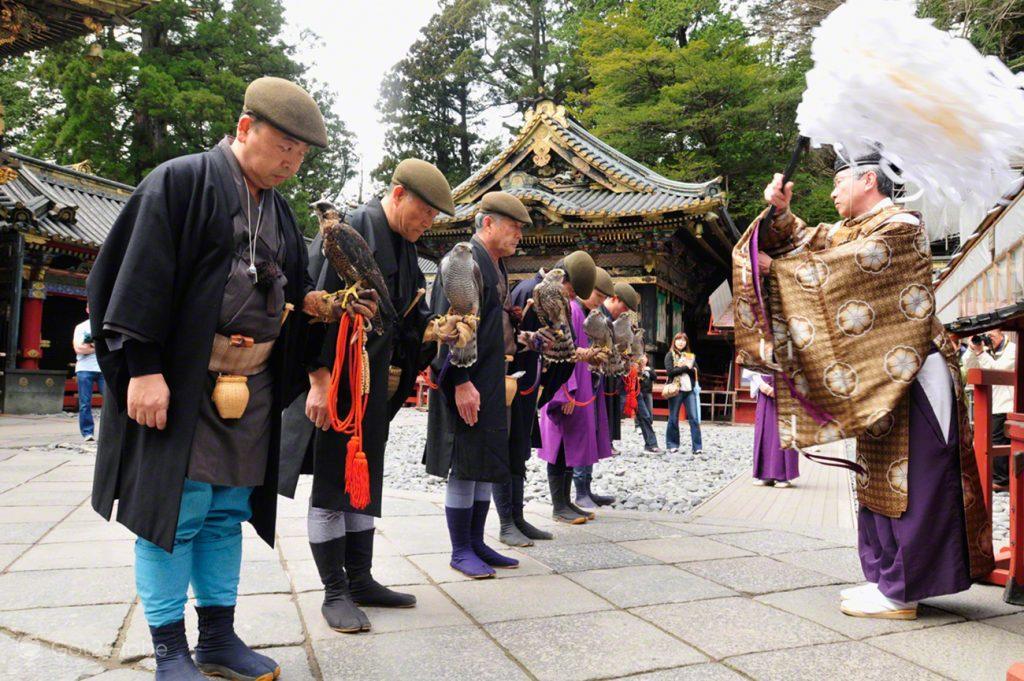 Benção dos falcoeiros, Spring Festival Shunki-Reitaisai, Cortejo Toshogu Tokugawa, Japão