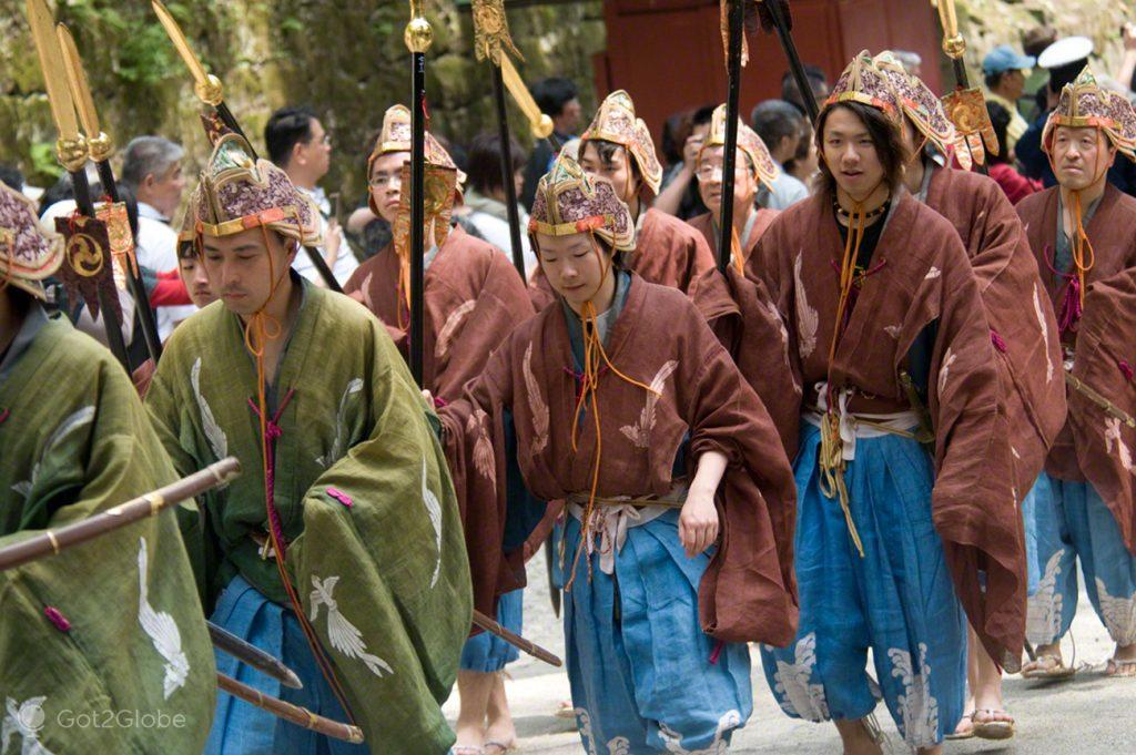 Figurantes, Spring Festival Shunki-Reitaisai, Cortejo Toshogu Tokugawa, Japão