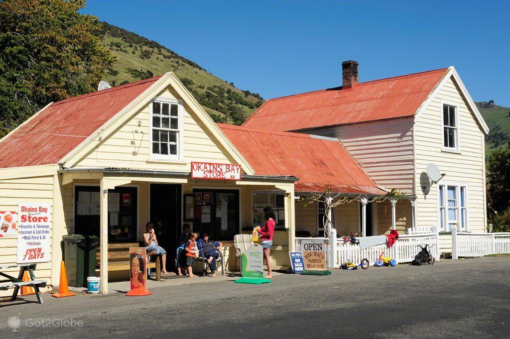 Casas de Okains Bay, Península Banks, Canterbury, Nova Zelândia