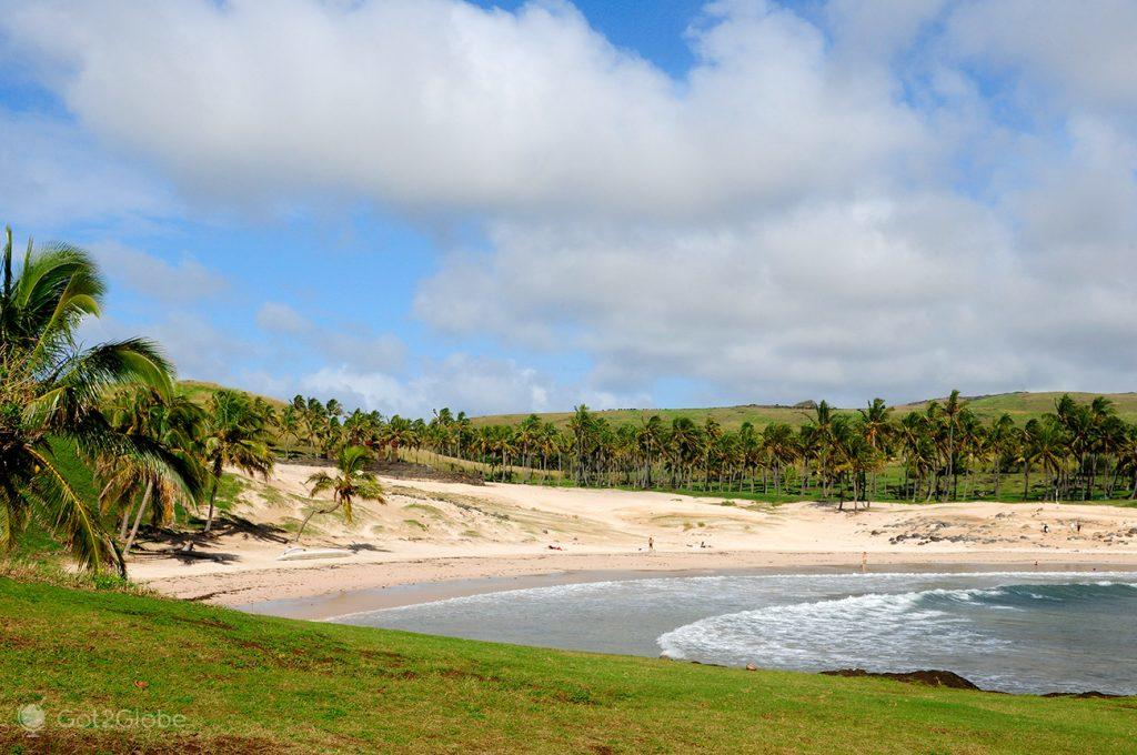 Praia de Anakena, Ilha Pascoa, Rapa Nui, Chile