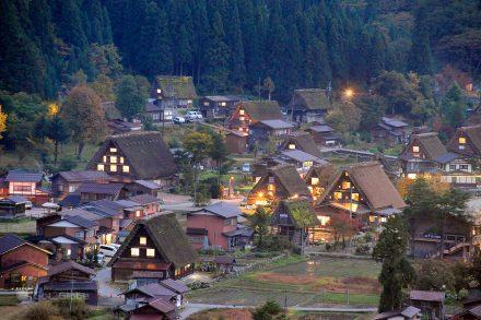Luzes de Ogimachi, Shirakawa-go, Ogimachi, Japao, Aldeia das Casas em Gassho