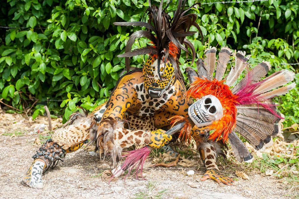 Figurante Deus Maia, Tulum, Ruínas Maias da Riviera Maia, México