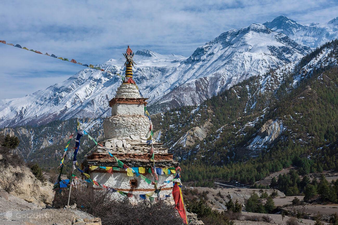 Estupa, Braka, circuito Annapurna, Nepal