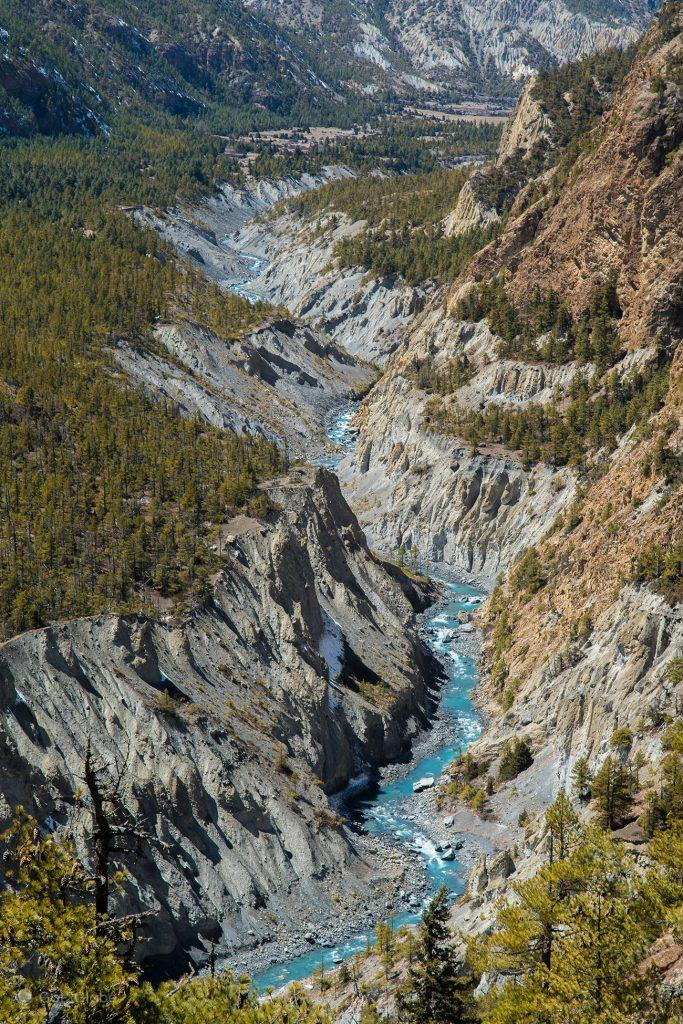 Meandros do Marsyangdi, circuito Annapurna, Nepal