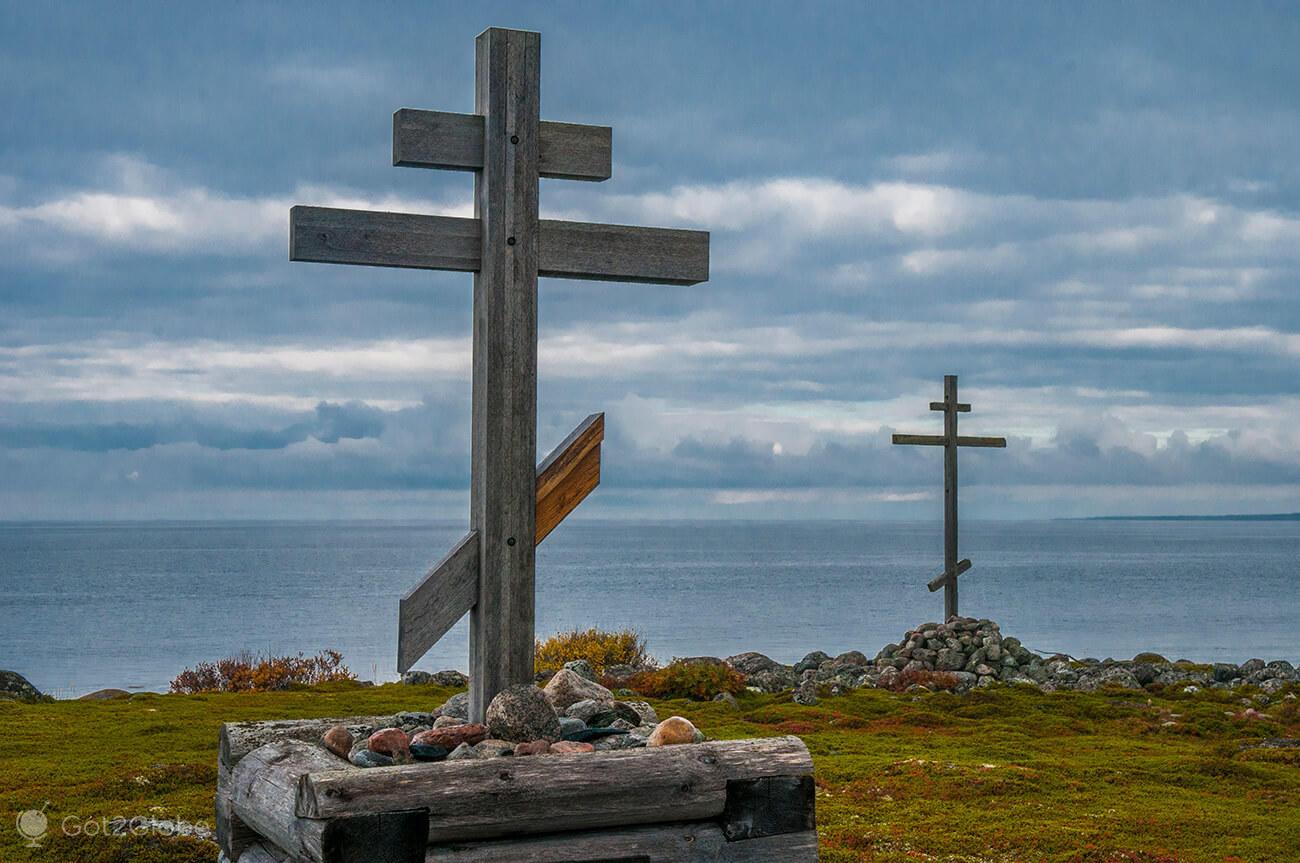 Cruzes ortodoxas, Bolshoi Zayatski, ilhas Solovetsky, Rússia