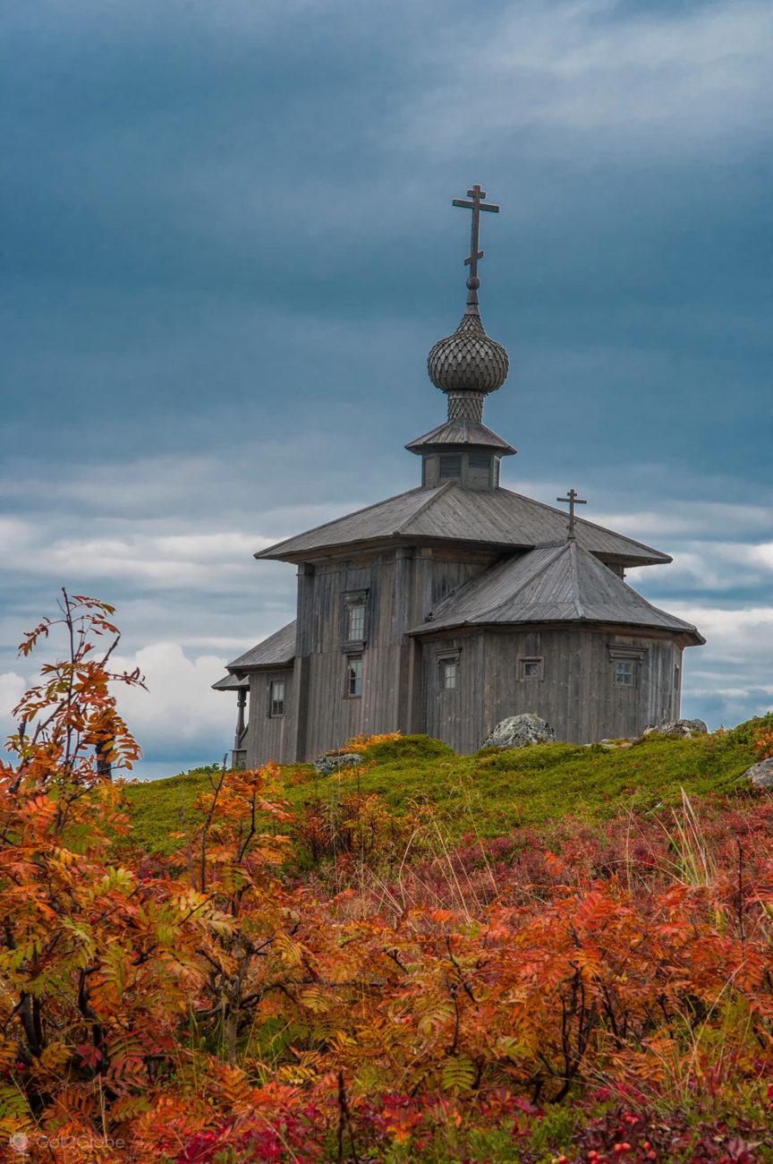 Igreja ortodoxa no Outono, Bolshoi Zayatski, ilhas Solovetsky, Rússia