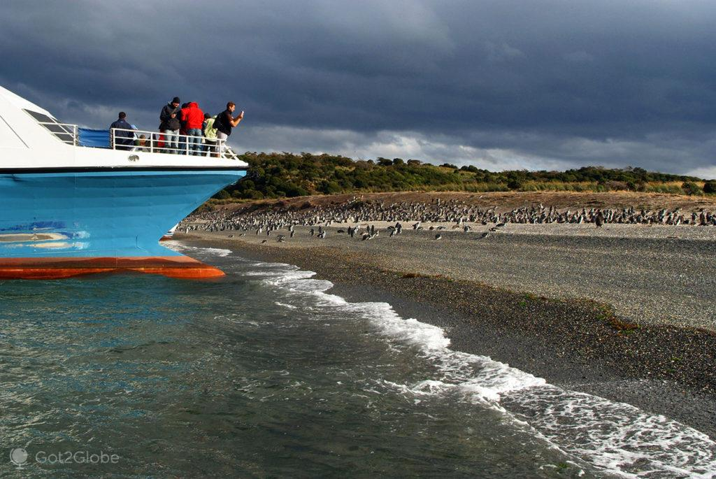 Passageiros em catamarã, Ilha Martillo, Tierra del Fuego, Argentina