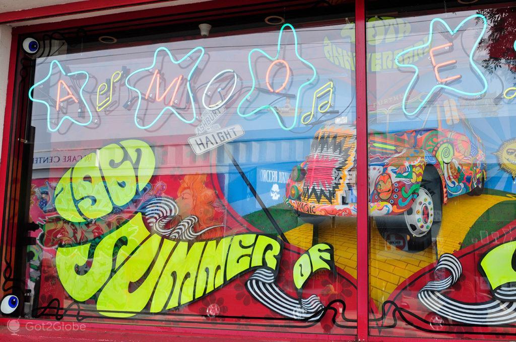 Montra de loja, the Haight, São Francisco, Califórnia, Estados Unidos da América