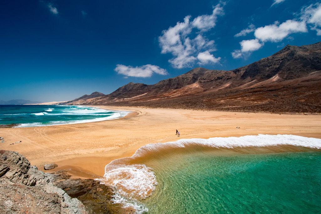 Praia de El Cofete do cimo de El Islote, Fuerteventura, ilhas Canárias, Espanha
