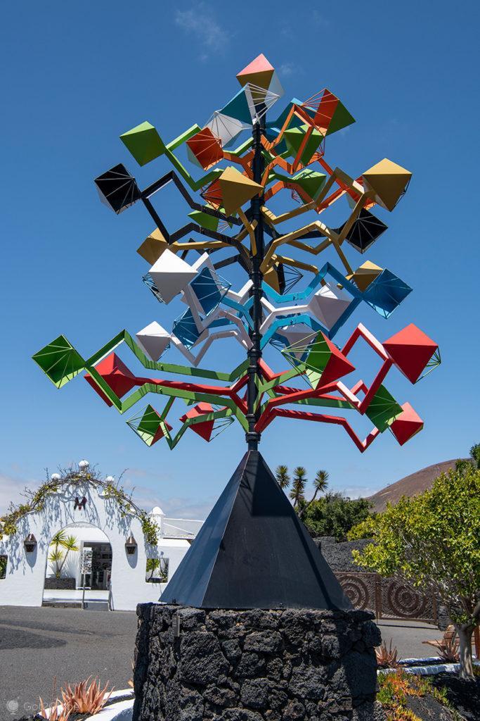 Engenho de vento, Fundação César Manrique, Lanzarote, Canárias, Espanha