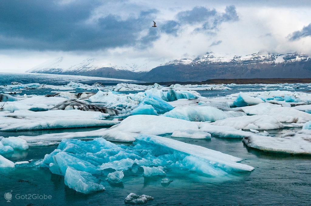 Gelo solto, lagoa de Jökursarlón, Islândia