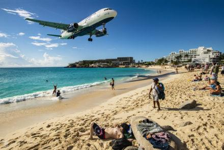 Avião em aterragem, Maho beach, Sint Maarten