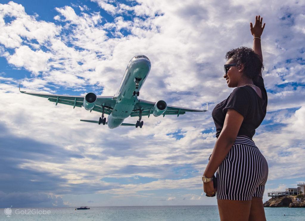 Jacto rasante, Maho Beach, Sint Maarten