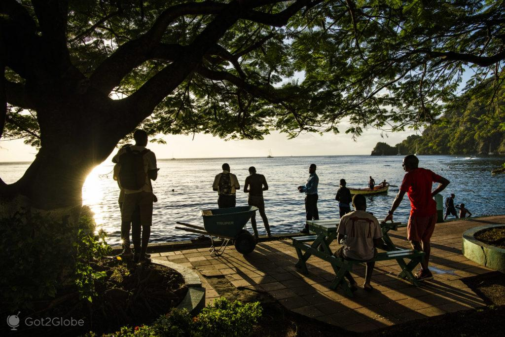 Público de pescaria, Soufrière, Saint Lucia
