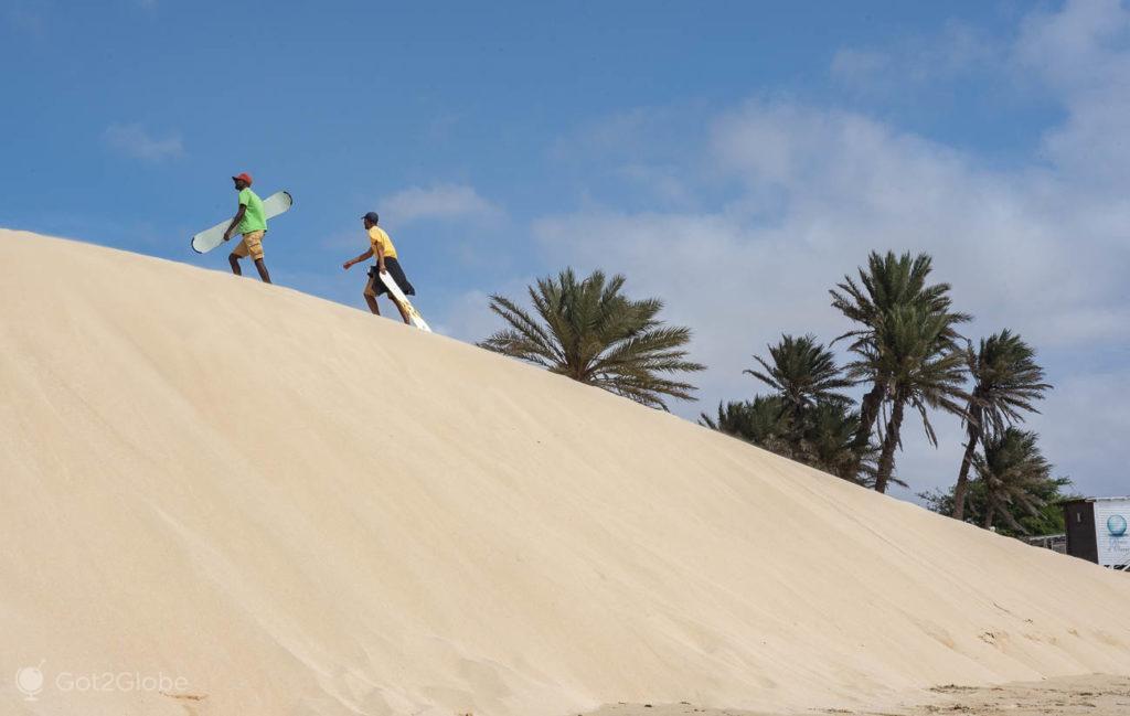 Sandboard, Praia de Chaves, Ilha da Boa Vista, Cabo Verde, Sal, a Evocar o Sara