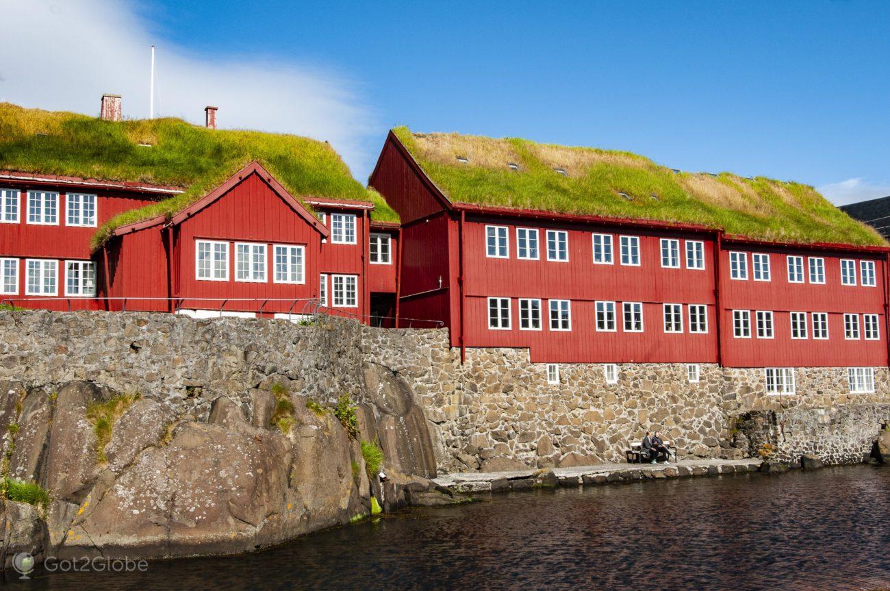 Torshavn, Ilhas Faroe, edifícios de Tinganes
